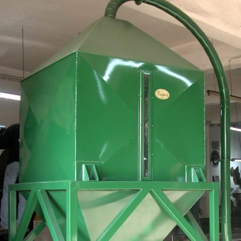 toper industrial coffee silo green